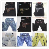 Wholesale American Flag Men Pants - Robins Man Straight Jeans Classic Denim Trousers with Wings American Flag Jean Robin Jeans For Men Fried Snow Jeans Rhinestone Decoration