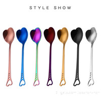 Wholesale wedding ice cream spoon - Stainless Steel Heart-Shaped Coffee Stirring Spoon For Dessert Cake Sugar Ice Cream Tea Spoons Kitchen Cafe Wedding Spoon