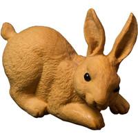 tallas de hojas al por mayor-dinero artesanías Hoja pequeña tallas de madera a la mano de un conejo Tallado en madera real arte y artesanía Conejo del zodiaco Ornamento casero Ornamento