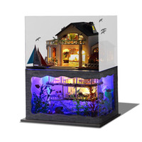 Wholesale diy kids furniture - Assembling DIY Doll House Handmade Wooden Miniature Hawaiian Villa Furniture Kit Room Led Lights Model Kids Birthday Gift ty YY