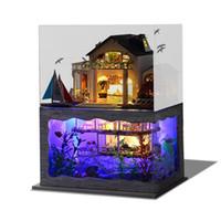 ahşap el yapımı ışık toptan satış-Montaj DIY Bebek Evi El Yapımı Ahşap Minyatür Hawaii Villa Mobilya Kiti Odası Led Işıkları Modeli Çocuklar Doğum Günü Hediyesi 65ty YY