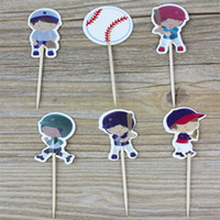 Wholesale baby boy shower cupcake toppers resale online - 24Pcs Set Baseball Sport Boys Candy Baby Shower Cupcake Toppers Kids Happy Birthday Cake Decoration Party Supplies wx bb