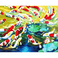 pintura a óleo das canvas dos peixes venda por atacado-Peixe sem moldura Pintura Diy By Numbers Kit Tinta Acrílica Na Lona Pintados À Mão Pintura A Óleo Moderna Arte Da Parede Para Casa