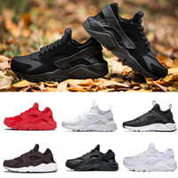 Wholesale high athletic running shoes resale online - High Quality classic Huarache Running Shoes For Men Women Black Gold Triple Sneakers Huarach Athletic Trainers huraches Sport Shoes