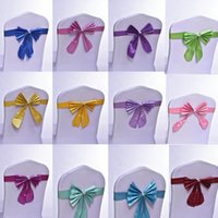 Wholesale Satin Bows For Chairs - Wedding Chair Cover Sashes Satin Chair Sash Bow Ties Butterfly Craft Chair Cover Decoration For Banquet Wedding Party