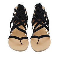 Wholesale shoe clip buckle resale online - Flat Heel Clip Toe Hollow Out Roman Ankle Sandals Flip Flops Chunky Heels Beach Shoes sandals