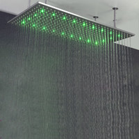 Brushed Brushed Ceiling 24*48 Inch Led Big Shower Head Ceiling Rain SUS304  Polished Rainfall