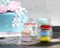 cajas de plástico macaron al por mayor-500 unids / lote envío rápido 5 cm plástico transparente Macaron Box para 1 Macarons Bomboniere Favors cajas de dulces F061303