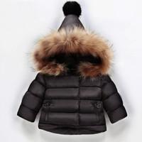 bebek kız için siyah ceket toptan satış-Yeni Geldi Bebek Kız Kış Aşağı Ceket 2018 Çocuklar Kalın Giyim Çocuk Sıcak Dış Giyim Bebek Yastıklı Ceket Bej Kırmızı Siyah Renk
