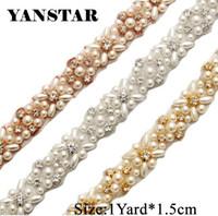 kristal düzeltme bahçesinde toptan satış-YANSTAR Gelin İnciler Rhinestones Aplikler Trim 1 Yard Tarafından * 1.5 cm Gelin Kanat Gül Altın Kristal YS803