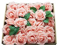 flores artificiais de aparência real venda por atacado-Flores artificiais Rosas Pretas 50 pcs Real Procurando Rosas Falsas w / Stem para DIY Bouquets De Casamento Peças Centrais Arranjos Partido Casa Halloween