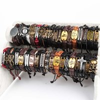 Wholesale Bracelet Boys - Metal Leather Bracelets Kids Adults Multi-color Antique PUNK Cuff Bracelets Party Gifts for Boys Girls Parents Family