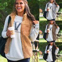 frauen sherpa jacken großhandel-Frauen-Winter-warme mit Kapuze Weste-Weste Outwear-beiläufige Mantel-Kunst-Pelz-Reißverschluss-Sherpa-Jacke Chaleco Mujer FS5188