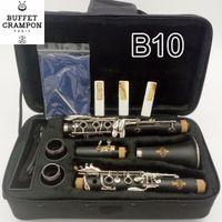instrumentos de viento al por mayor-Nuevo BUFFET B10 Bb Clarinet B Tono plano 17 teclas Baquelita Clarinet Professional Instrumentos de viento de madera Envío gratis con boquilla
