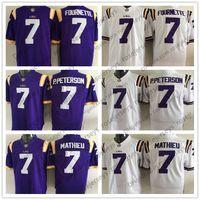 Wholesale college football games - NCAA LSU Tigers #7 Leonard Fournette Patrick Peterson P.Peterson Tyrann Mathieu Purple White Stitched College Football Game Jerseys S-3XL