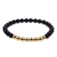 perlen rosa armband großhandel-6 mm Naturstein Perlen Armband für Männer 2018 Vintage Rose Gold Silber Perlen Wrap Armbänder Frauen Chakra Armbänder Bangles