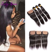 Wholesale Silk Base Hair Closures - Peruvian Silk Base Closure With Bundles Peruvian Straight Virgin Hair With Silk Closure Human Hair Bundle With Silk Closure