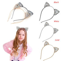 Wholesale girls cat woman costume - Women Girls Hair Hoop Glitter Crystal Metal Rhinestone Cat Ear Headband Hairband Costume Party Dress-up Hairbands
