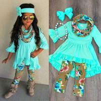 trajes para niñas pequeñas al por mayor-2018 Nueva Llegada SpringFall Kids Baby Girls Tops Blusa Pantalones Florales Leggings Moda de Algodón Niños Trajes 3 Unids Set ropa