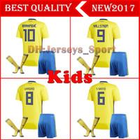 3bc30167e 2018 New Sweden kids Soccer Jersey 18 19 Zlatan Ibrahimovic Marcus Berg  BERG TOIVONEN LARSSON GRANQVIST Sweden kids Kits Football Shirt