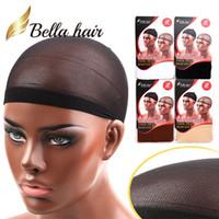 haarstücke für weben großhandel-Bella Hair Professionelle Weaving Caps für die Herstellung von Perücken Soft Mesh-Perücke Cap und Nylon Perücke Cap 2 Stück Eine Tasche 4 verschiedene Farben