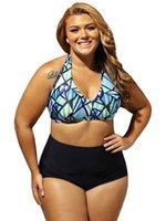 grande tamanho swimsuits venda por atacado-Mulheres Tamanho Grande Tankinis Verão Geométrica Moderna Swimsuit Impresso Sexy Feminino Swimwear Para Roupas de Desgaste Da Praia
