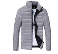 jaquetas para homens de algodão de primavera venda por atacado-Mens Primavera Outono Para Baixo Casacos Fino Slim Fit Casacos de Algodão-acolchoado Cor Sólida Casaco de Manga Comprida Outerwear