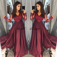 Wholesale Chiffon Embroidery Prom Dress - Hot Burgundy Lace Prom Dresses 2018 Sheer Vintage Long Sleeves A Line V Neck Formal Party Wear Prom Pageant Gowns Arabic