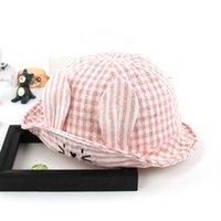 klasik şapkalar toptan satış-Çocuk Erkek Kız Şapkalar Vintage Geniş Ağız Kap Yumuşak Pamuk Karikatür Ekose Sevimli Disket Çocuk Plaj Güneş Şapka Yüksek Kalite