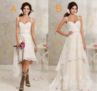 Wholesale high low style vintage wedding dress for sale - Two Styles Lace Country Wedding Dresses High Low Short Bridal Dresses And Floor length Multi Layers Garden Bohemian Wedding Gowns
