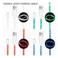 câble de chargement fluide visible achat en gros de-3.3FT Visible Lumineux LED Light Up Fluide Micro USB Éclairage Câble De Charge Courant Flash Data Sync Transmettre Ligne pour i5i6 Android