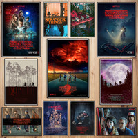 ingrosso carta poster gratuita-Stranger Thing Poster di carta patinata Cafe Creative wallpaper Decorazione d'interni Spedizione gratuita