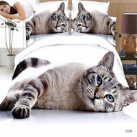 Wholesale Home textile Bedroom Furniture King Size Polyester Bedding Set D Print Cat Quilt Cover Bed Sheet Pillowcase