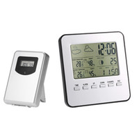 Wholesale digital wireless weather station - Multi-functional Wireless Weather Station Clock LCD Digital Indoor Outdoor Thermometer Hygrometer