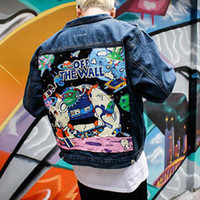 ingrosso giacca jeans disegni-Brand New Denim Jacket Uomo Japan Style Graffiti Vintage Patch Design Giacche in jeans per uomo Hip Hop Streetwear