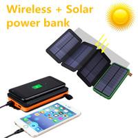 carregadores solares sem fio venda por atacado-Banco do poder solar sem fio 20000 mah Bateria Carregador Solar Dobrável Removível Carregador Solar Caso para Produtos eletrônicos