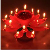 ingrosso bella decorazione di candela-1 PZ Bella Blossom Fiore di Loto Candela Festa di Compleanno Torta Musica Sparkle Cake Topper Rotante Candele Decorazione EJ670976