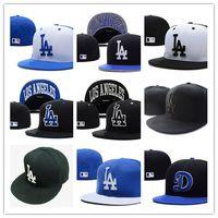 Wholesale La Dodgers - Top Sale Classic Los Angeles Dodgers Fitted Caps LA Letter Embroidery Baseball Cap Flat-brim Hat Team Size Baseball Caps