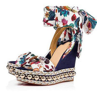Wholesale summer sandals sale women heeled for sale - Summer Hot Sale Sandal Ladies Red Bottom Wedges Sandals Levantinana Women s High Heels Sexy Ladies Ankle Strap Wedding Dress With Box