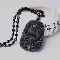 Wholesale jade dragon pendant jewelry - Drop Shipping Black Obsidian Dragon Necklace Pendant Jade Pendant Jewelry Lovers Pendant Lucky Amulet