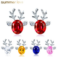 Wholesale pink reindeer for sale - Group buy Crystal Earrings Three Dimensional Christmas Reindeer Earring Kids Christmas Gifts Cute Stud Earring Red Pink White Colors Jewelry