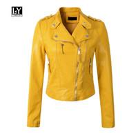 chaqueta de piel sintética amarilla al por mayor-Ly Varey Lin Nuevas mujeres Pu Chaqueta de cuero Diseño corto Epaulet Cremalleras Faux Soft Leather Motocicleta Negro Rosa Amarillo Outwear