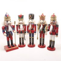 Wholesale cartoons clay toys online - Originality Coloured Drawing Wood Soldiers Puppet Toys Desk Office Bedroom Decor Ornament Nutcracker Doll Arts And Crafts hx gg