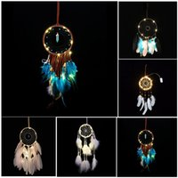 Wholesale Holidays Money - LED Light Wind Chimes Dreamcatcher with Feather Wall Hanging Car Pendant Ornament Home Decor Wedding Decoration Party Gifts