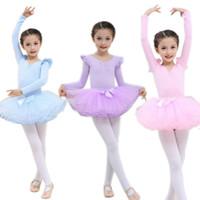 Wholesale girls dancewear sets - Cute Kids Children Girls Ballet Dancing Clothing Costumes Dancewear Jumpsuit+ Leggings+ Skirt Set M09