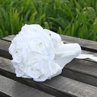 demoiselles d'honneur vente de fleurs achat en gros de-21 * 18cm mariage bouquet de mariage décoration de mariage coloré demoiselle d'honneur artificielle fleur perles perles mariée tenant des fleurs en vente