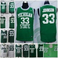 зеленая миля оптовых-Штат Мичиган спартанцы #22 мили мосты зеленый 23 Дреймонд зеленый 32 Джонсон желтый 33 Earvin Magic NCAA MSU баскетбол ретро трикотажные изделия S-3XL