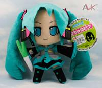 vokaloid peluş toptan satış-Vocaloid Hatsune Miku Peluş Oyuncak Bebek 24 cm Yeşil Hatsune Miku Yumuşak Dolması Oyuncaklar Şekil Oyuncak Kızlar Doğum Günü Hediyeleri için