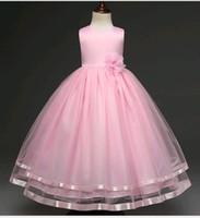 vestidos de 12 anos venda por atacado-Novos Vestidos De Casamento para Crianças Pequenas Meninas Puffy Cor Sólida Lace Mesh Frisado Flor Menina Vestido de Baile fit 4-12 anos de idade criança