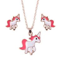çocuklar için küpeler toptan satış-Hayvan Takı Seti Zinciri Çocuklar Kadınlar Takı Karikatür At Unicorn Kolye Küpe Kızlar Için En Iyi Hediyeler Parti Takı Setleri Setleri